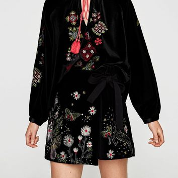 Black Velvet Embroidery Detail Tassel Tie Long Sleeve Blouse