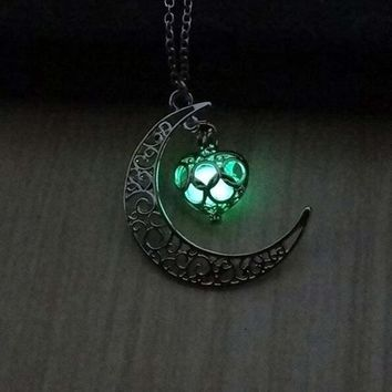 Moon Glowing Necklace, Gem Charm Jewelry,Silver Plated,Halloween Gifts