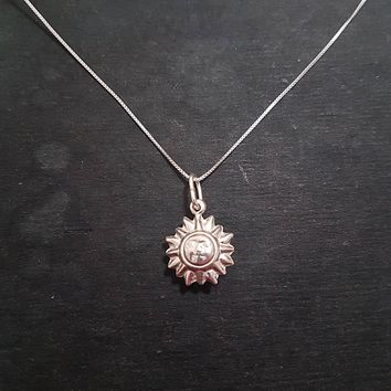 Anti Tarnished 925 Sterling Silver Sun Pendant Charm with free chain