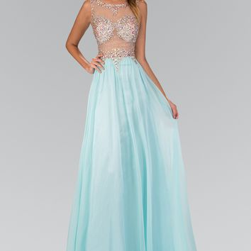 Sparkling Beaded Sheer Illusion Bodice Long Chiffon Prom Dress #gl2093