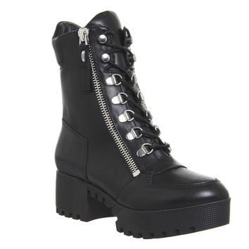 Kendall - Kylie Phoenix Lace Boots Black Leather - Ankle Boots