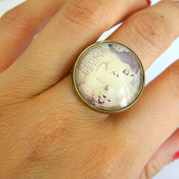 Glass Ring Vintage Retro Woman Antiqued Bronze by PushTheButtons