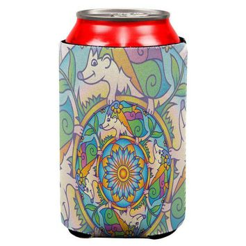 LMFCY8 Mandala Trippy Stained Glass Hedgehog All Over Can Cooler