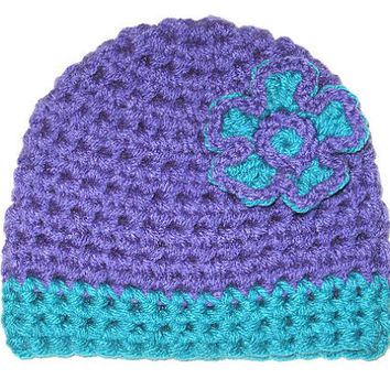 Free Gift Included - Lavender, purple and Aqua hat with Pop out flower Baby Hat Set- Photo Prop Baby Shower Gift, Ready to Ship