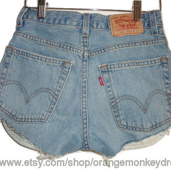 CHEEKY vintage cut off jean blue GRUNGE denim LEVI high waisted summer shorts made to order all sizes