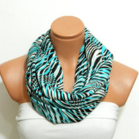 zebra stripes pattern scarf Nomad fabric scarf,Infinity Scarf,turquoise and  Black scarf,Loop Scarf,Circle Scarf,.Ultra soft..Nomad Tube...
