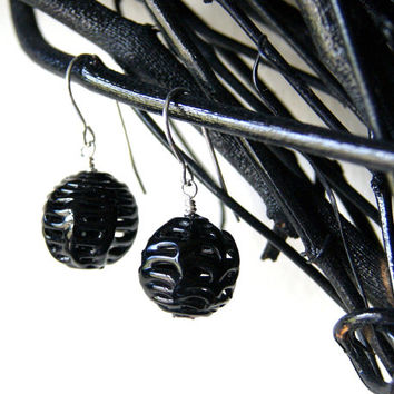 Black Spider Web Earrings - vintage glass spiderweb or lace beads - Black Glass Earrings - Dangle Earrings - Drop Earrings - Autumn Fashion
