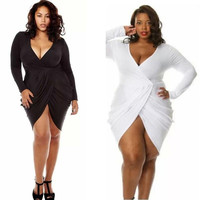 Hot Women's Plus Size Deep V-Neck Draped Ruched Pure Color Dress Sexy Package Buttocks Slim Dress = 1956695236