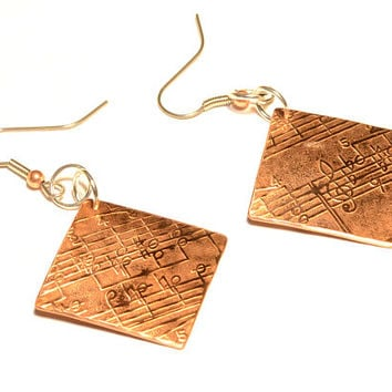 Copper dangle earrings with music notes