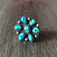 Vintage Blue Turquoise Ring in 925 Sterling silver, floral design oval cut blue turquoise gemstones, US Size 5