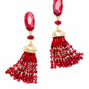 Kendra Scott: Dove Gold Statement Earrings In Red Mother Of Pearl