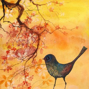 Dab of Inspiration - Fine Art Print colorful robin sparrow watercolor painting hanging flower blossoms yellow kitchen decor Oladesign 5x7