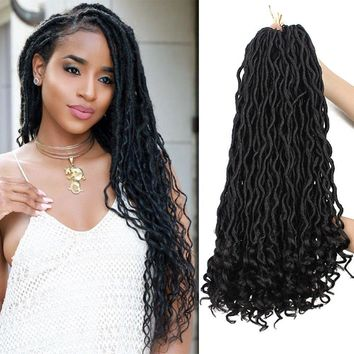 TINY LANA(6 Packs,18 inch) Afro Dreadlocks Godness Faux Locs Crochet Braids with Curly Ends,Wavy Synthetic Fiber Ombre Braiding Hair Extensions(t-bug Color)