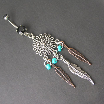 Belly Button Jewelry Southwestern Silver Sun Copper Turquoise Feather Dream Catcher Navel Piercing Ring Tribal South West Western