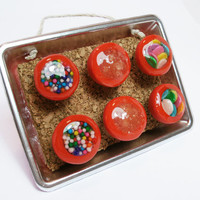 Miniature Bowls with Sprinkles Red  Set of by PinkDragonflyCrafts