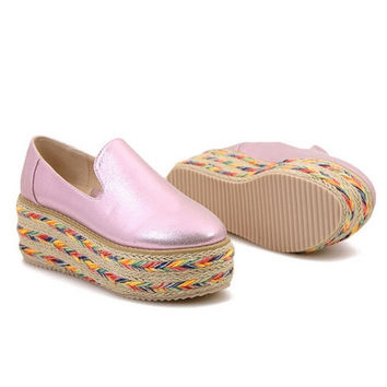 Bling Pink Gold Creepers Straw Platform Shoes Woman New Spring Summer Style Flats Slip On Wedges Casual Women Shoes  = 5710659777