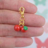 Cute Cherries Charm | Polymer Clay Charm | Kawaii Handmade Gift | Miniature Food Fruit Jewwelry Accessory