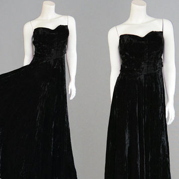 Vintage 1940s Evening Gown SUSAN SMALL Black Velvet Crushed Velvet Strapless 50s Dress Boned Dress Ball Gown Formal Dress 40s Evening Dress