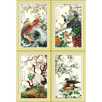 Diy needlework kits embroidery,Home decor 51x78CMx4 rich golden pheasant peacock crane mandarin duck Dmc Cross stitch