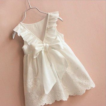 Toddler Kids Baby Girls Lace Dress Bow White V-Neck Princess Party Dresses For Summer Holiday