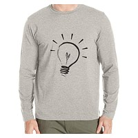 Cotton casual t shirt New Autumn and winter man T-shirt fashion long sleeved high quality Bright light bulb