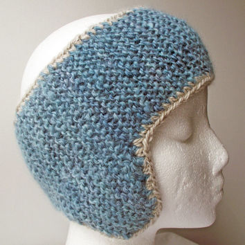 Headband with Earflaps Knit Hairband Earwarmer Headwarmer  Handspun Dyed Knitted Alpaca