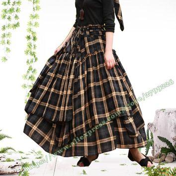 2017 Autumn and winter Plus Size 6XL XXXXL Vintage Casual 100% Cotton Plaid Grid and Floral Pleated Maxi Long Skirts Womens