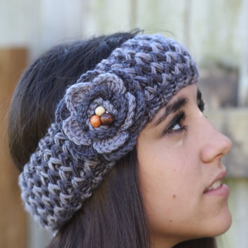 Headband - Large Flower, Grey , Wood Beads, Knitted , Crochet, Knit ,infinity, Wide Headband, Turban, Christmas Gift