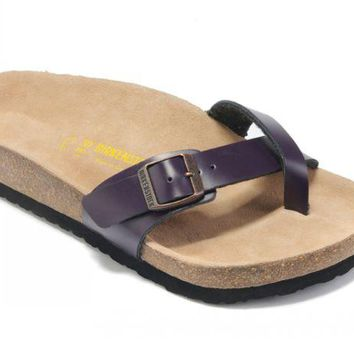 Birkenstock Piazza Sandals Leather Deep Purple - Ready Stock