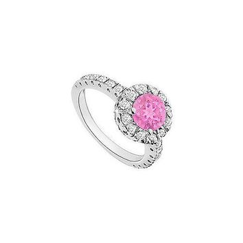 Pink Sapphire and Diamond Halo Engagement Ring : 14K White Gold - 1.30 CT TGW