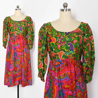 Vintage 60s Psychedelic DRESS / 1960s Bright Empire Waist Silk Dress