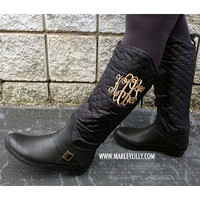Monogrammed Black Quilted Rain Riding Boot | Footwear | Marley Lilly