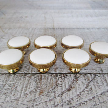 Drawer Knobs 7 Vintage Porcelain and Brass Knobs Mid Century Ceramic and Brass Drawer Knobs Salvaged Hardware Brass Dresser Hardware