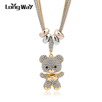 LongWay Gold Color Long Crystal Bear Pendant Necklace For Women 2017 New Design Necklace & Pendant Trendy Jewelry SNE140166