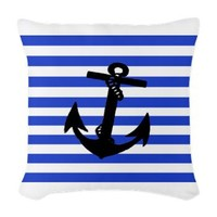 Black Anchor of Blue Stripes Art Woven Throw Pillo > Anchor Art : Anchor Art Gifts Store