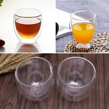 Coffee Mugs Double-wall Insulated Clear Glasses Tea Cappuccino Cups Set Gift New SOW