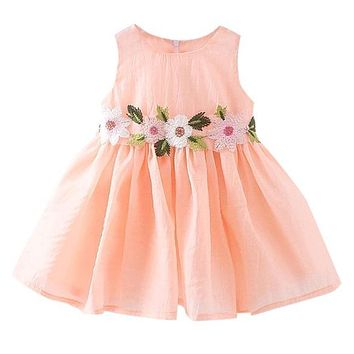 Flower Print Little Girl's Dress, Size 3T