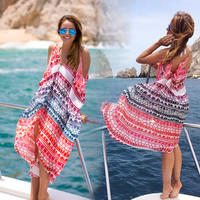 Loose Irregular V-neck Backless Beach Cover Up Dress