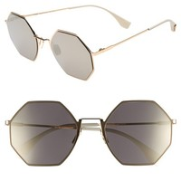 Fendi 53mm Octagonal Polarized Metal Sunglasses | Nordstrom