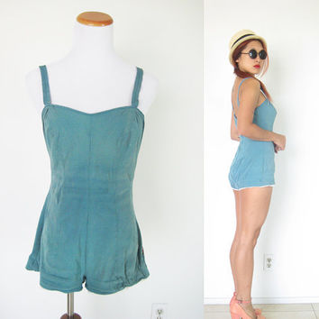 Vintage collectible 50's Jantzen swimsuit bathing suit romper jumper green pinup playsuit bombshell