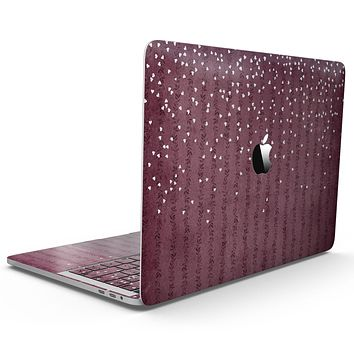 White Micro Hearts Over Burgundy Leaves - MacBook Pro with Touch Bar Skin Kit
