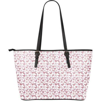 Butterfly Pattern Pink And White Large Leather Tote Bag
