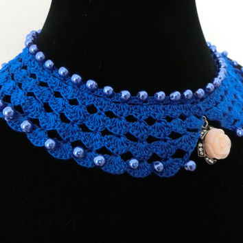 Blue Crochet Collar Necklace Choker Detached Collar Beaded Necklace, Mother's Day Gift Idea, Free Gift Wrapping
