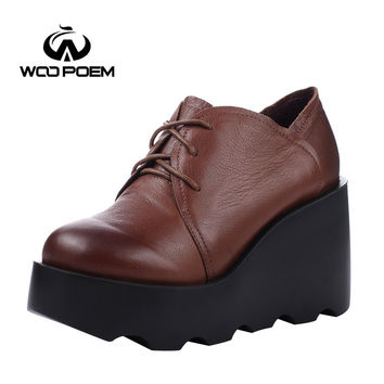 WooPoem Spring Autumn Shoes Women Cow Leather Breathable Pumps Wedges High Heels Shoes Fashion Platform Women Pumps 803-6