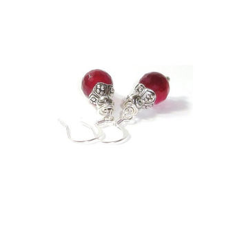 Faceted Ruby Jade Earrings , Sterling Silver Earrings , Gift For Her