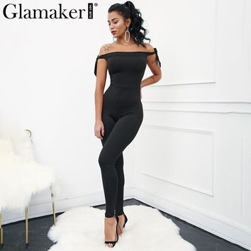 Glamaker Off shoulder black women jumpsuit romper High waist solid jumpsuit overalls Sexy sleeveless bodycon jumpsuit romper