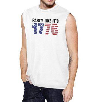 Party Like It's 1776 Funny 4th Of July Mens White Muscle T-Shirt