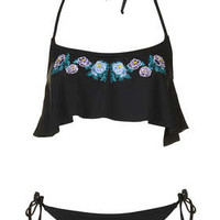 BLACK EMBROIDERED ROSE SHELF BIKINI