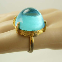 Vintage Modernist Blue Ring Bubble Large Costume Wedding Birthday Anniversary size 7