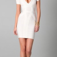 Herve Leger Short Sleeve V Neck Dress | SHOPBOP
